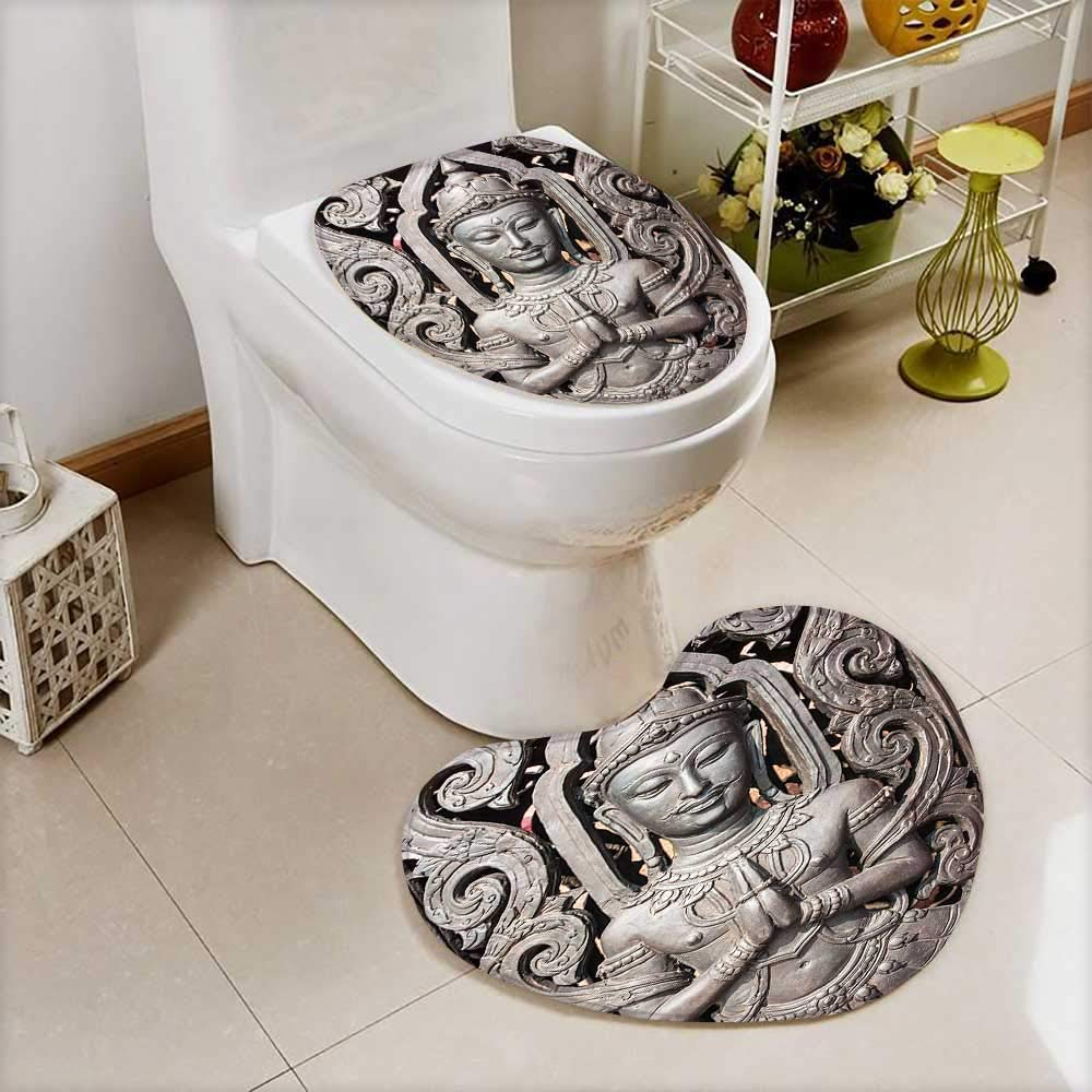 L-QN Toilet Mat Collection Antique Buddha in Traditional Thai Art Swirling Floral Patterns Carving Japanese Non Slip, Microfiber Shag, Absorbent, Machine Washable