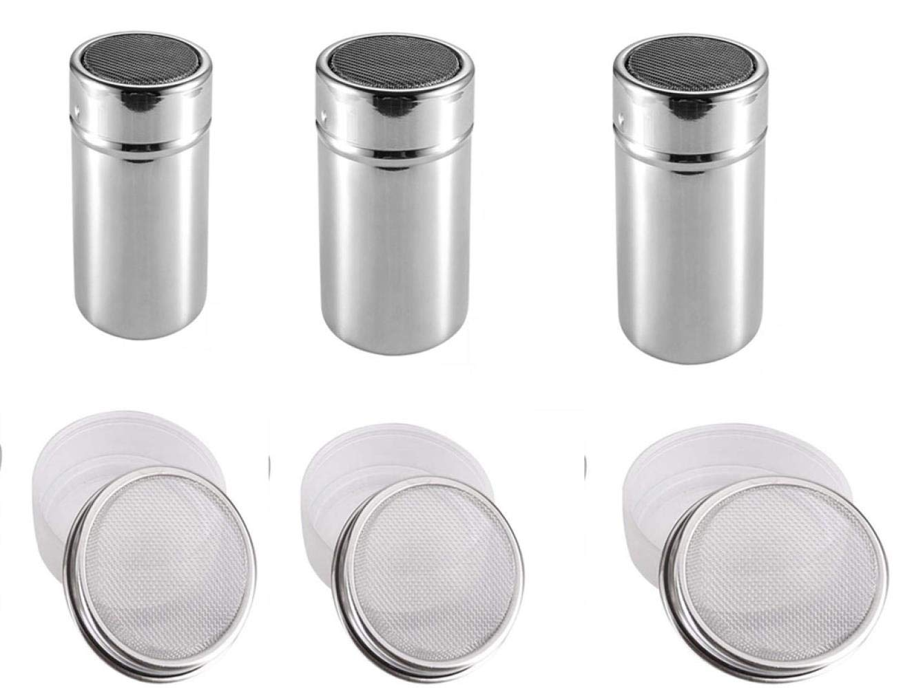 Powdered Sugar Shaker with Lid - Fancy Coffee Appliance Stainless Steel Powder Cylinder Mesh Powder Sieve Duster Dusting Powder Bottle Cocoa Powder with Lid (3 Pack), small by JYHYGS