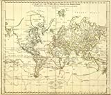 1775 School Atlas | A chart of the World upon Mercator's projection. Describing the tracks of Capt. Cook in the year 1768 | Antique Vintage Map Reprint