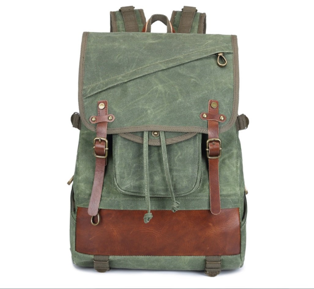 Green New Men's Outdoor Batik Waterproof Canvas Shoulder Bag LargeCapacity Europe and The United States Retro Travel Backpack ZXCV