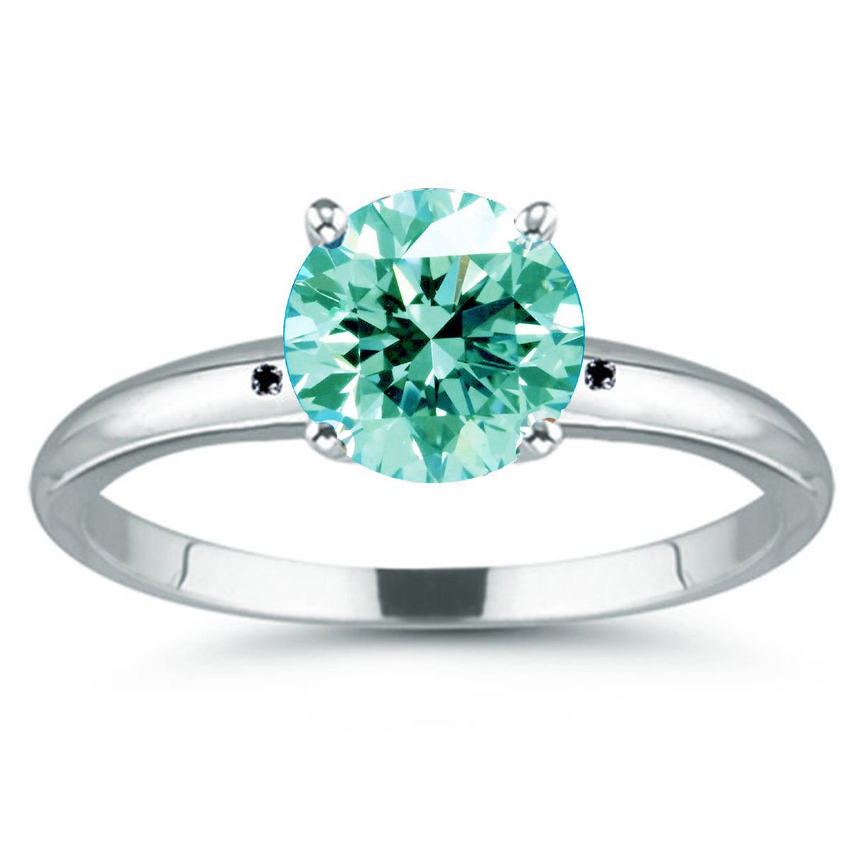 RINGJEWEL 1.76 ct VVS1 Round Moissanite Solitaire Silver Plated Engagement Ring Ice Sky Blue White Color Size 7