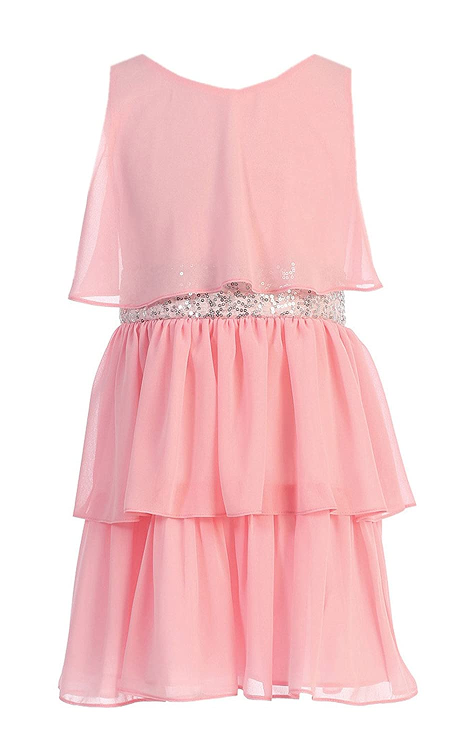 3e47b4223c37 Amazon.com: Sweet Kids Girls Sequin Belted Triple Tiered Chiffon Dress:  Clothing