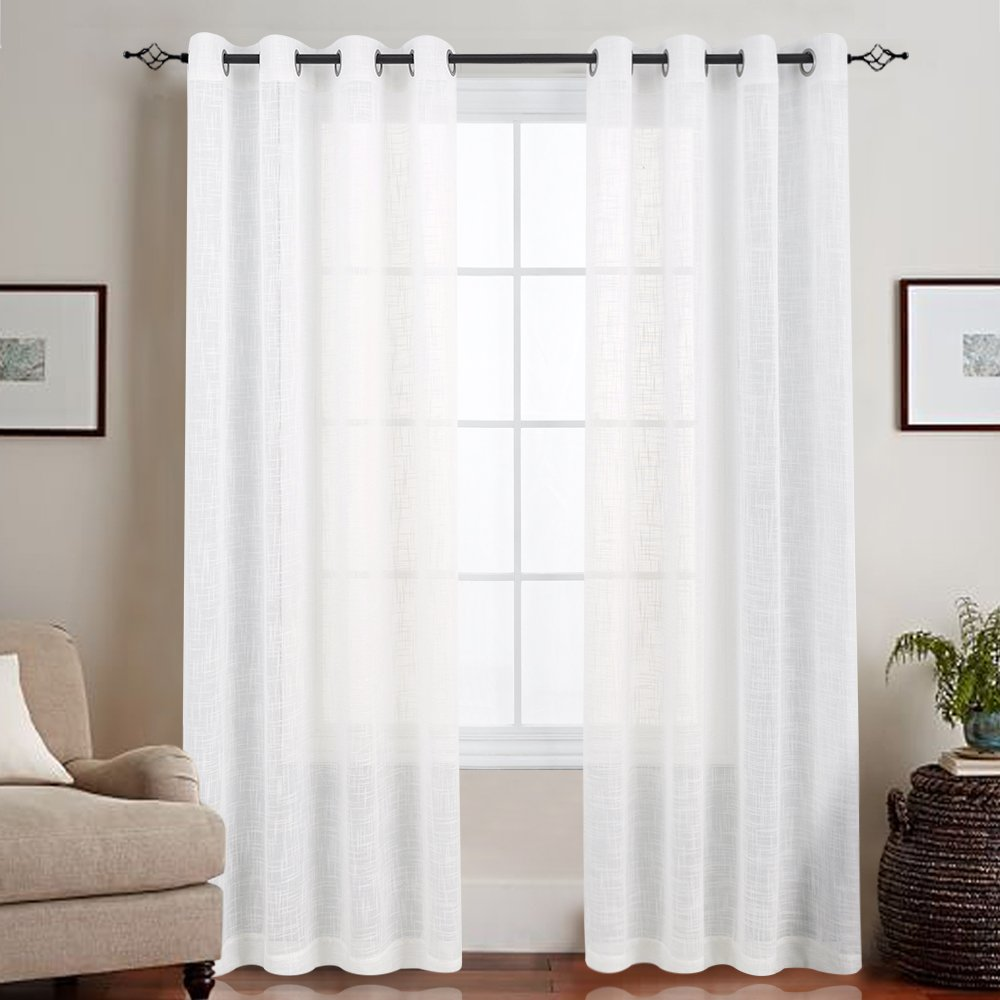 "Window Treatments for Bedroom, Set of Two, 55"" x 63"", White"