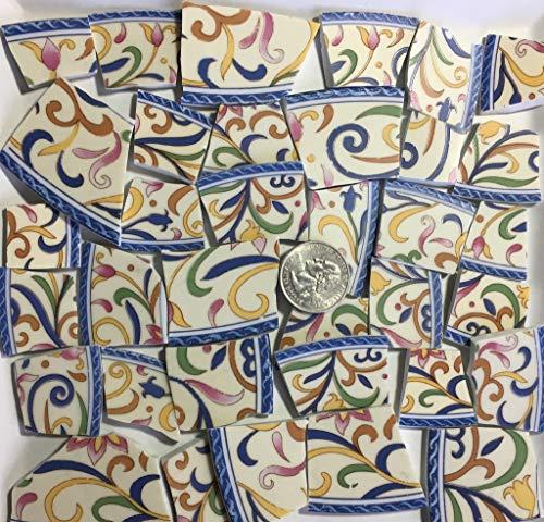 Mosaic Art & Craft Supply ~ Blue Green Yellow Floral China Tiles (A991) ()