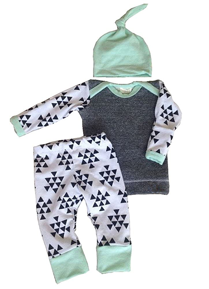 Infant Baby Kids Boys Girls Autumn Warm Clothes Tops+ Pants+ Hat Outfit Set 3Pcs Aliven