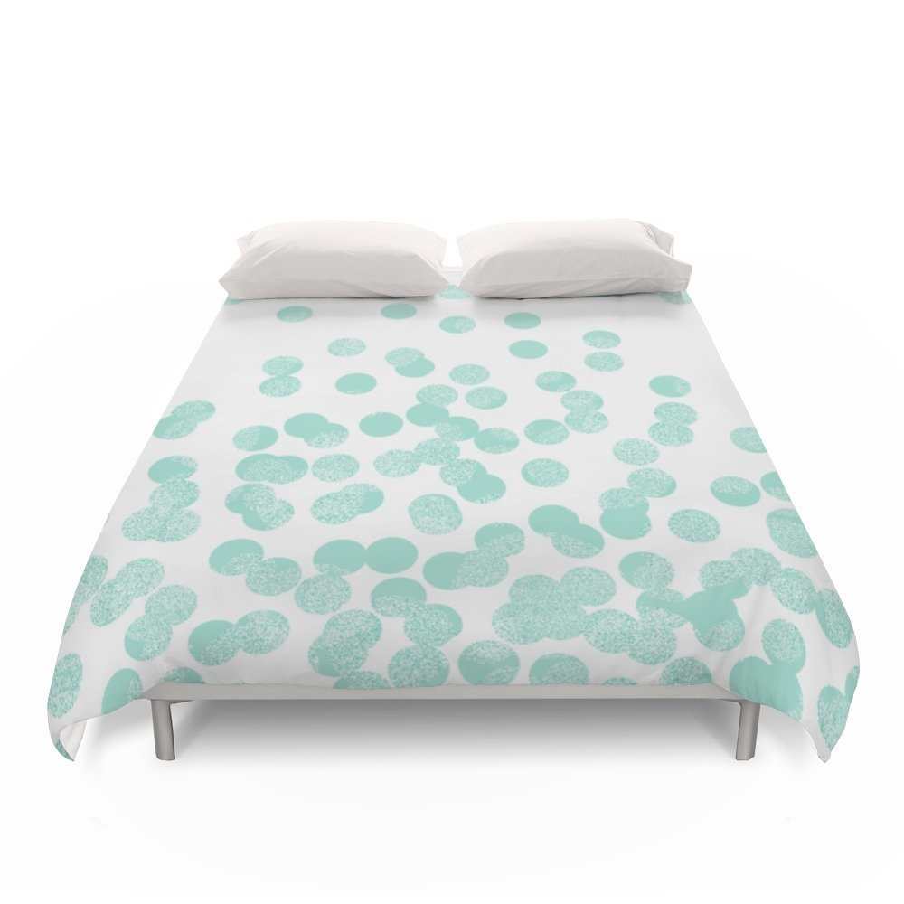 Society6 Scattered Glitter Dots In Mint, Green, Pistachio, Cool Girly Cute Colors For Trendy Cell Phone Case Duvet Covers Queen: 88'' x 88''