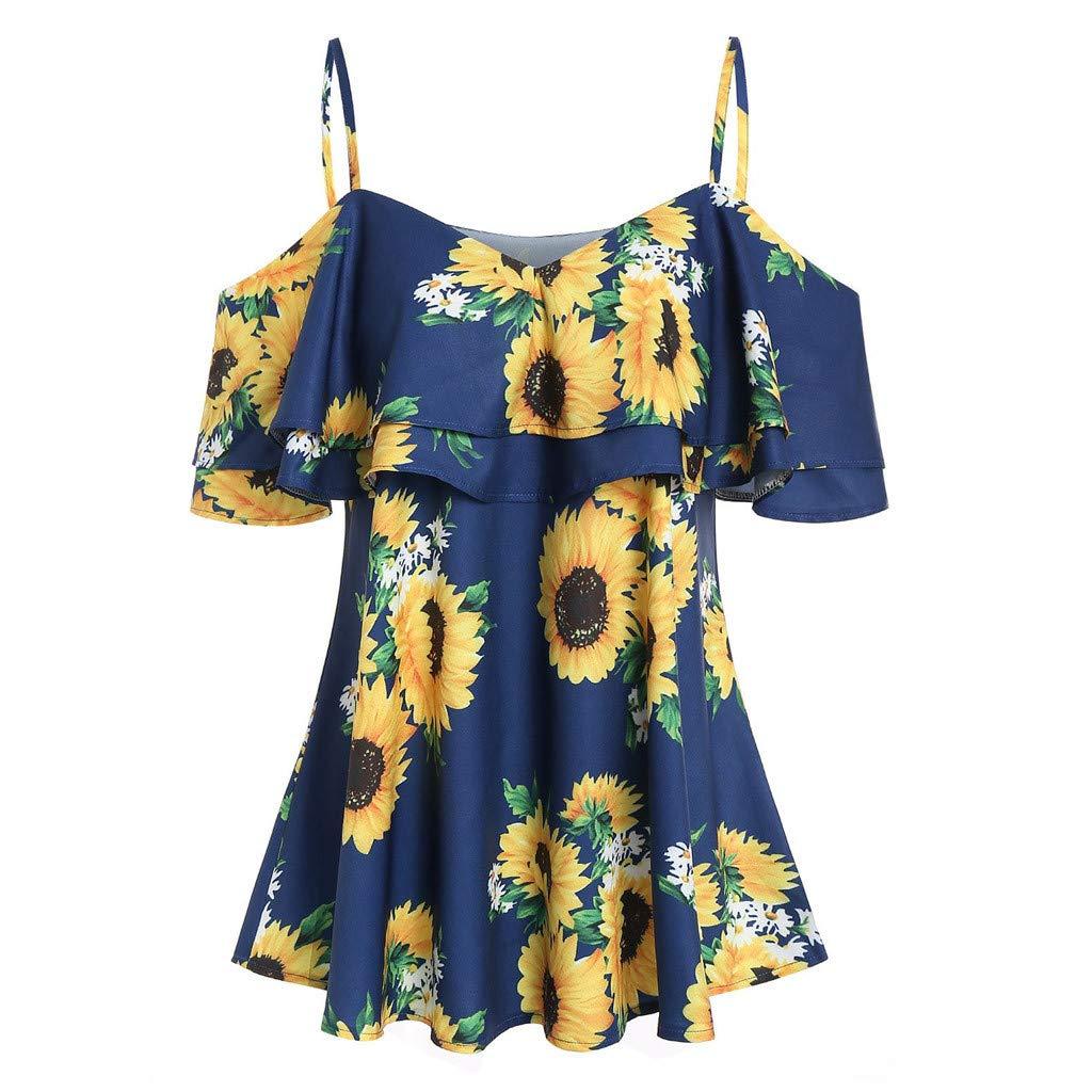 HENWERD Casual Women Sunflower Printed Camis Short Sleeve Ruffles Cold Shouder Blouse