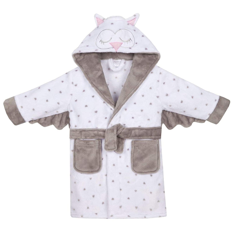 Infant Girls Soft Sleepy Owl Design Dressing Gown with Hood