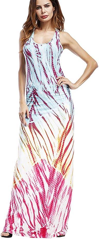 Fashion New Women Multicolor Tie Dye Print Spaghetti Strap Casual Long Dress