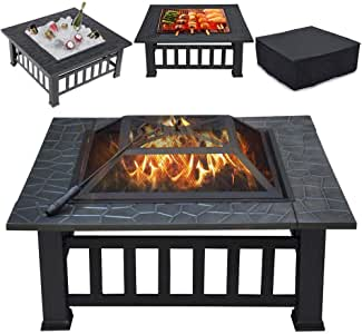 Topeakmart Outdoor Metal Fire Pit Table Multifunctional Backyard Patio Garden Square Stove, 32in Diameter Wood Burning Fireplace with Waterproof Cover