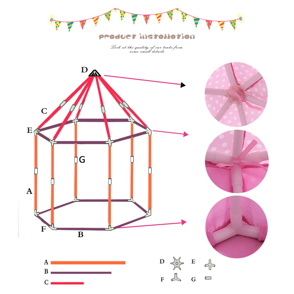 Smart-H Play Tent Child Princess Castle Indoor Outdoor Large Play House Game House, Pink