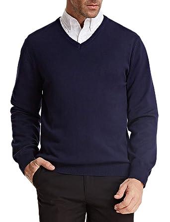 Paul Jones Homme Gilet Doux et Mode avec Ourlet en Maille Col V Taille S  Bleu c185e9e93354