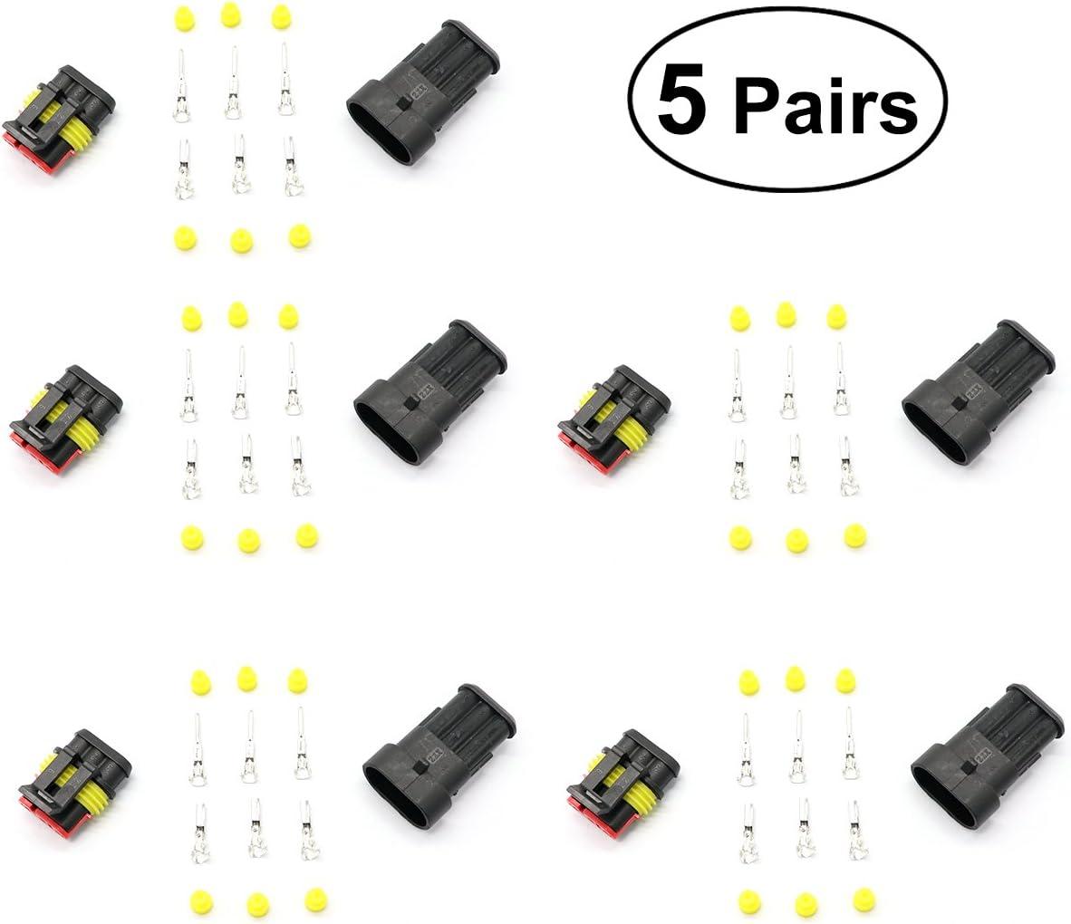 VORCOOL Impermeable Cable Enchufe El/éctrico del Conector El/éctrico de la Prenda del Coche 5 Pares de 3 Pines