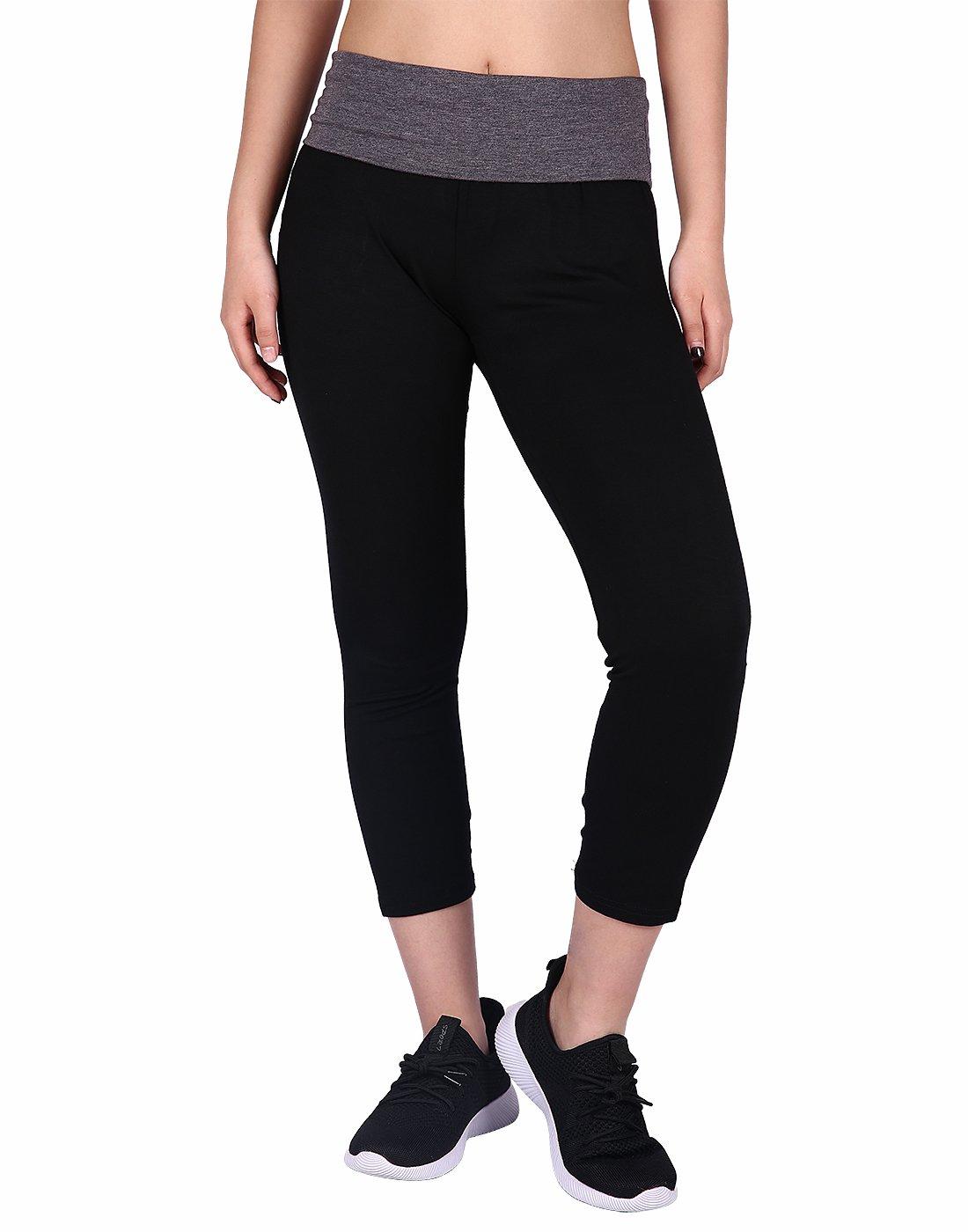 HDE Women's Yoga Capri Pants Color Block Fold Over Waist Workout Leggings (Black w/Charcoal, Large)