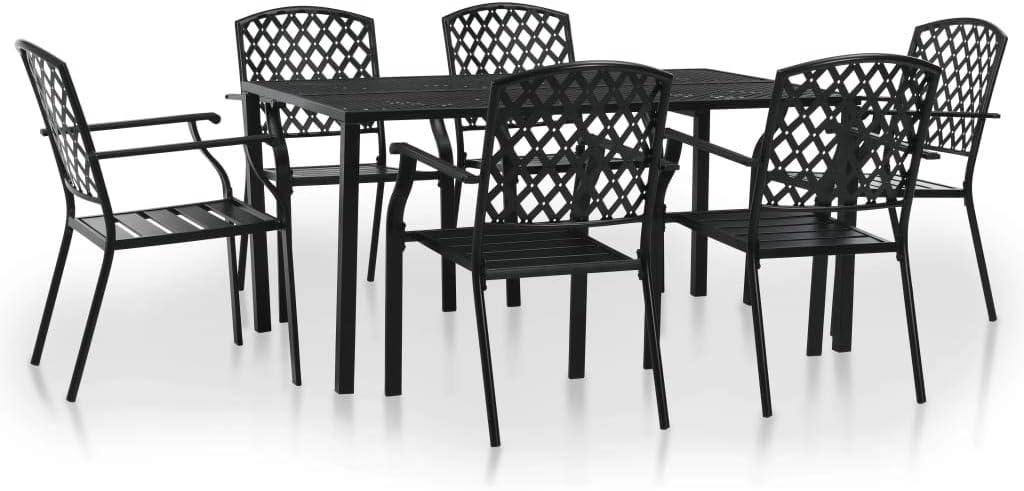vidaXL Set Tavolo e Sedie da Bistr/ò 3 pz in Rete Acciaio Nera Bar da Giardino