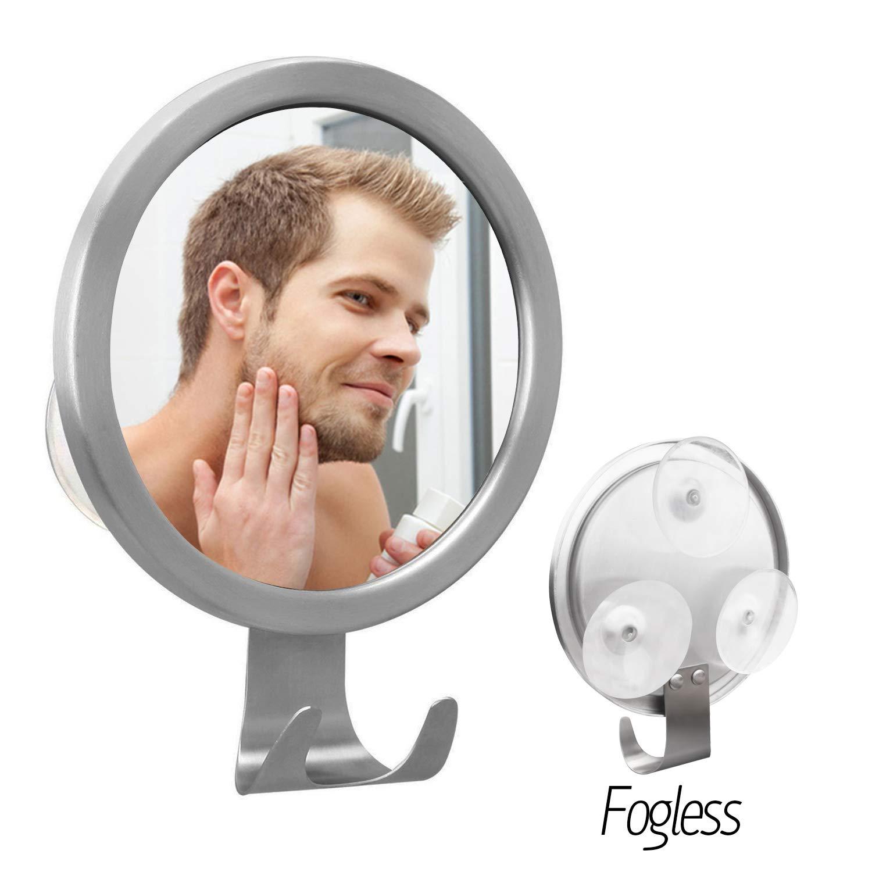 Elegear Fogless Shaving Mirror for Shower Mirror with 3 Premium PVC Lock Suction Cups Fog Free Mirror Wall-Mounted Mirror No Fog Bathroom Mirror Diameter 12.5cm *12.5cm (fogless mirror01)