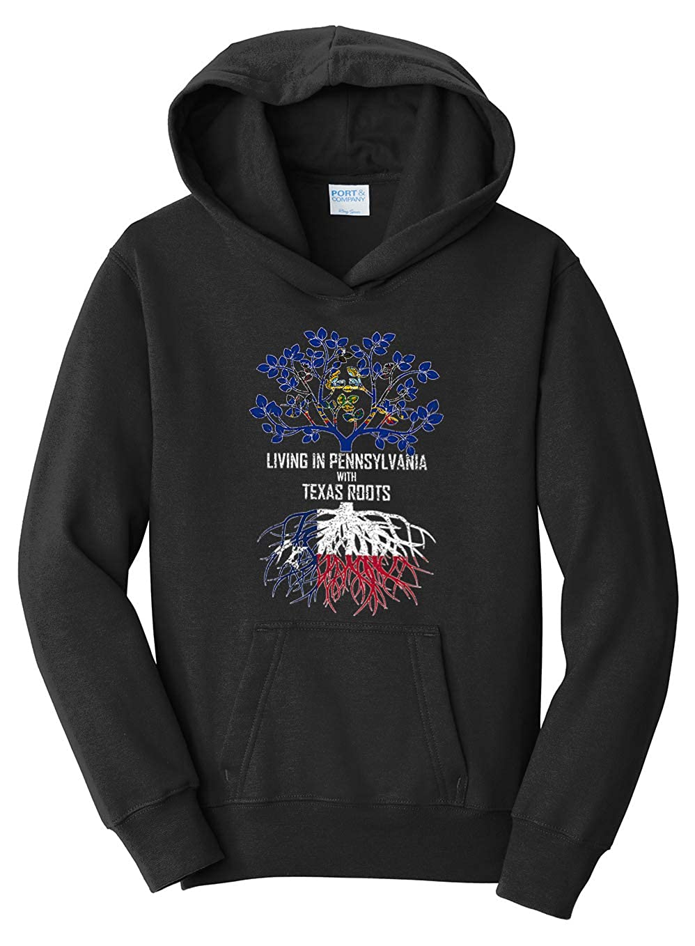 Tenacitee Girls Living in Pennsylvania with Texas Roots Hooded Sweatshirt