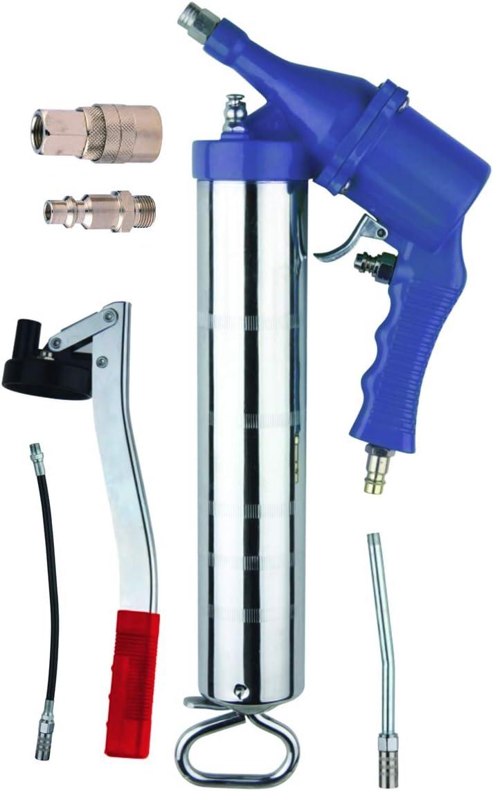 Bomba de grasa NEUMÁTICA + MANUAL pistola engrasadora 400 cc para taller, coche, bricolaje