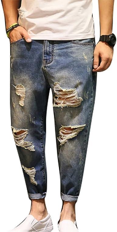 Vaqueros De Moda Para Hombres Pantalones Vaqueros Rasgados Pantalones Vaqueros Anchos Desgastados Pantalones Micro Elasticos Amazon Es Ropa Y Accesorios