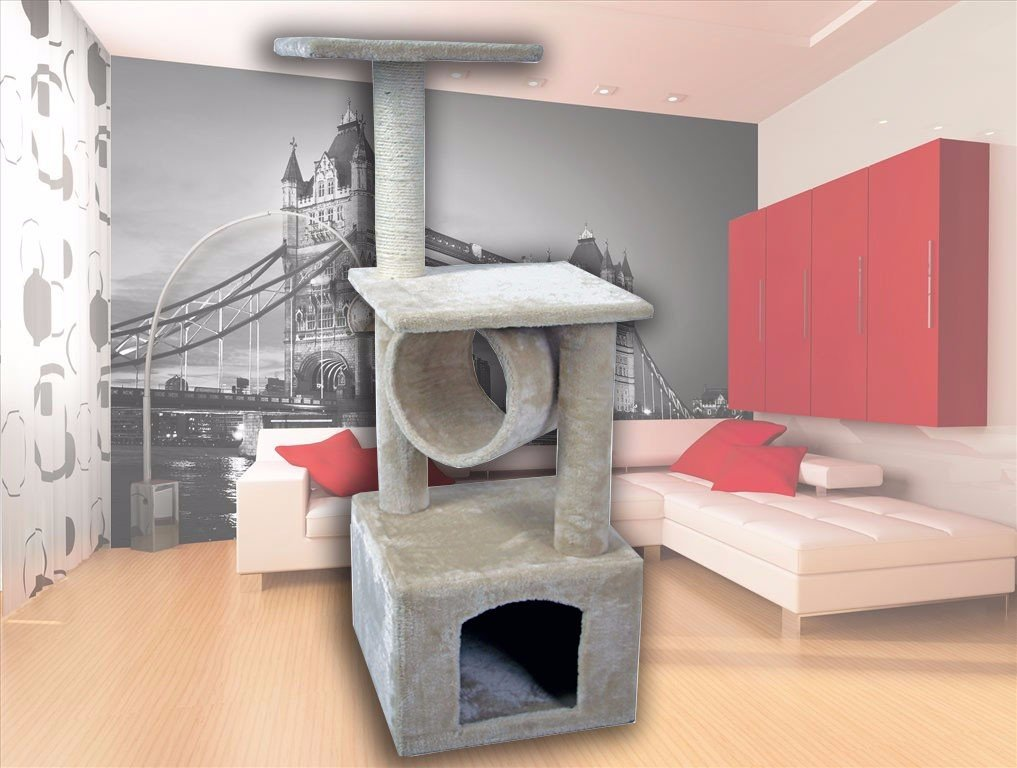 CW 36'' Hiding Cat Tree Kitty Tree Private Soft-Sided at Condo Furniture Scratch Post Pole Pet Play House for Behavior Training