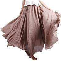 OCHENTA Femme Jupe Boheme Tour de Taille Elastique Casual en Coton Dress Mariage Plage