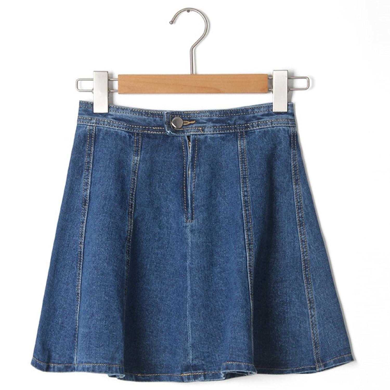 NiSeng Damen Hohe Taille A-Linie Kurzes Rock Denim Kleid Damen Jeans  Minirock: Amazon.de: Bekleidung