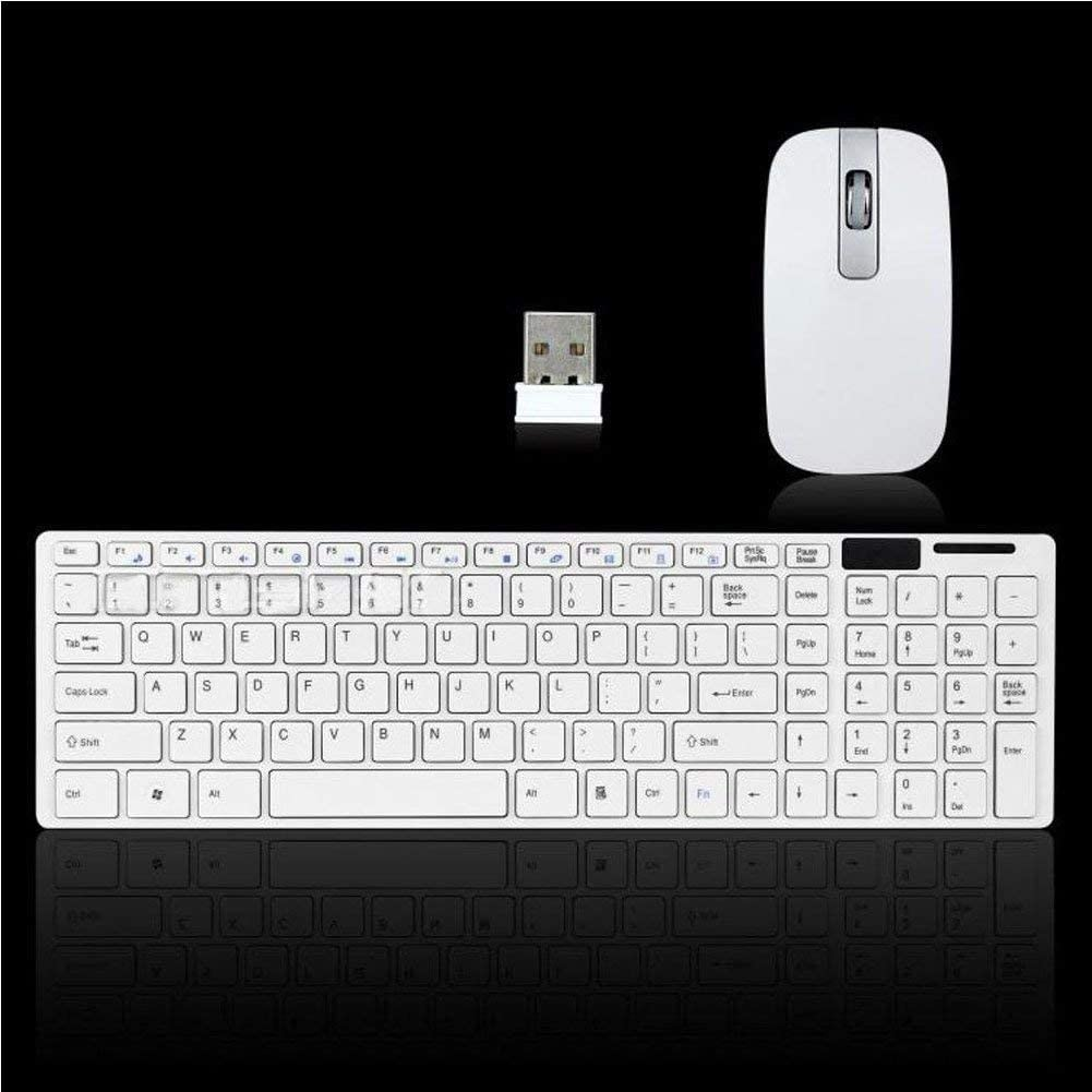 PC 2.4G Inalámbrico Inalámbrico Teclado con Keyborad Protector y Ratón Combo (Blanco) - Blanco