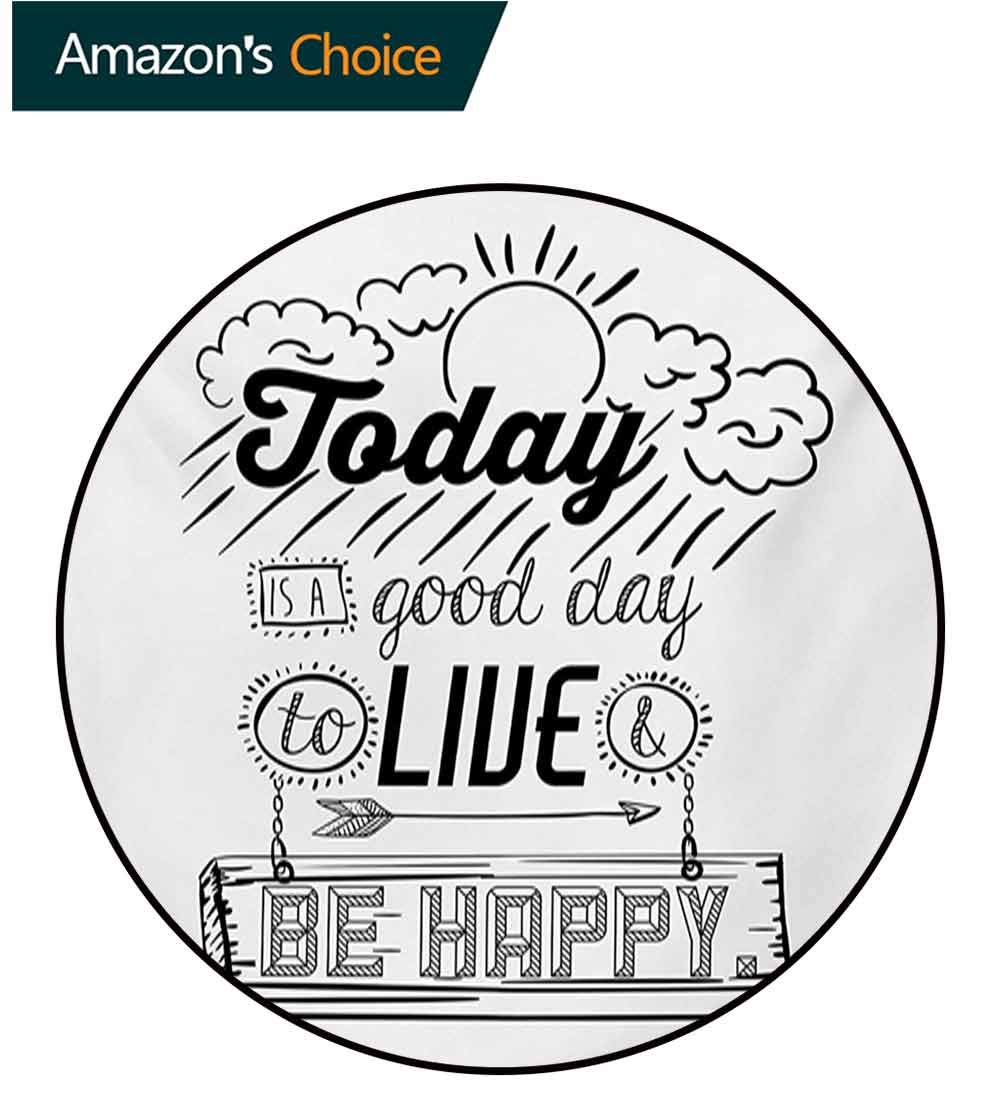 RUGSMAT Quotes Modern Washable Round Bath Mat,Today is A Good Day to Live Be Happy Enjoy Reminding Gratitude Inspire Vision Non-Slip Bathroom Soft Floor Mat Home Decor,Round-63 Inch