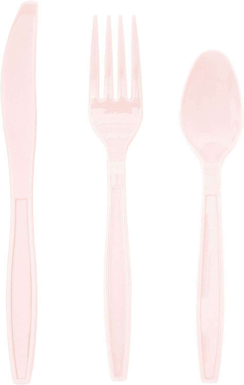 Juvale Cubiertos de pl/ástico para Fiestas de revelaci/ón de g/énero 32 Tenedores 32 cucharas 96-Count Rosa//Azul Claro Baby Showers 32 Cuchillos
