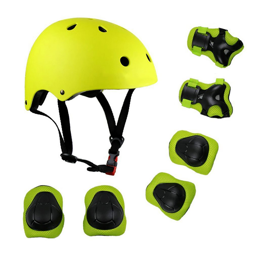 KIKIGOAL子供用マルチスポーツヘルメット、膝用パッド肘用手首保護セット、スケートボード用サイクリングスケートスクーター(グリーン、S)   B079GR2G4L