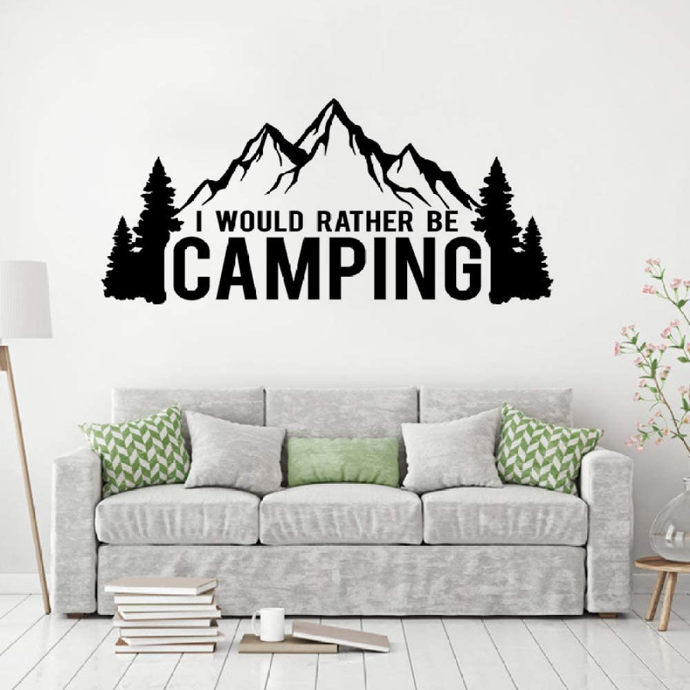 Car Window Decal Camping Lover Wall Sticker I Would Rather Be Camping Quote Vinyl Wall Mural Mountain and Trees Stickers Gray 92x42cm: Amazon.es: Hogar