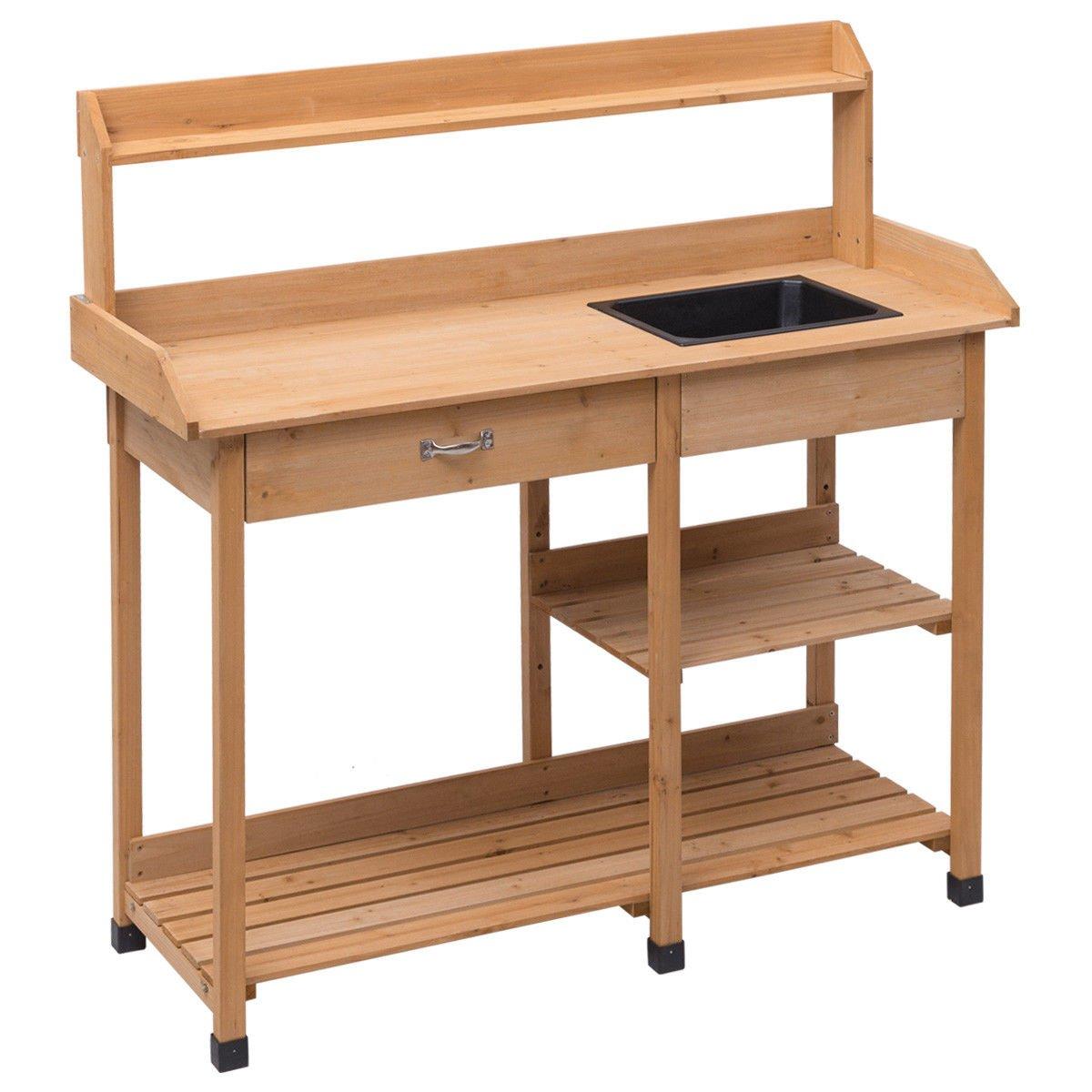 Fir Wood Garden Potting Bench Table Patio Storage Shelf Work Station w/ Drawer