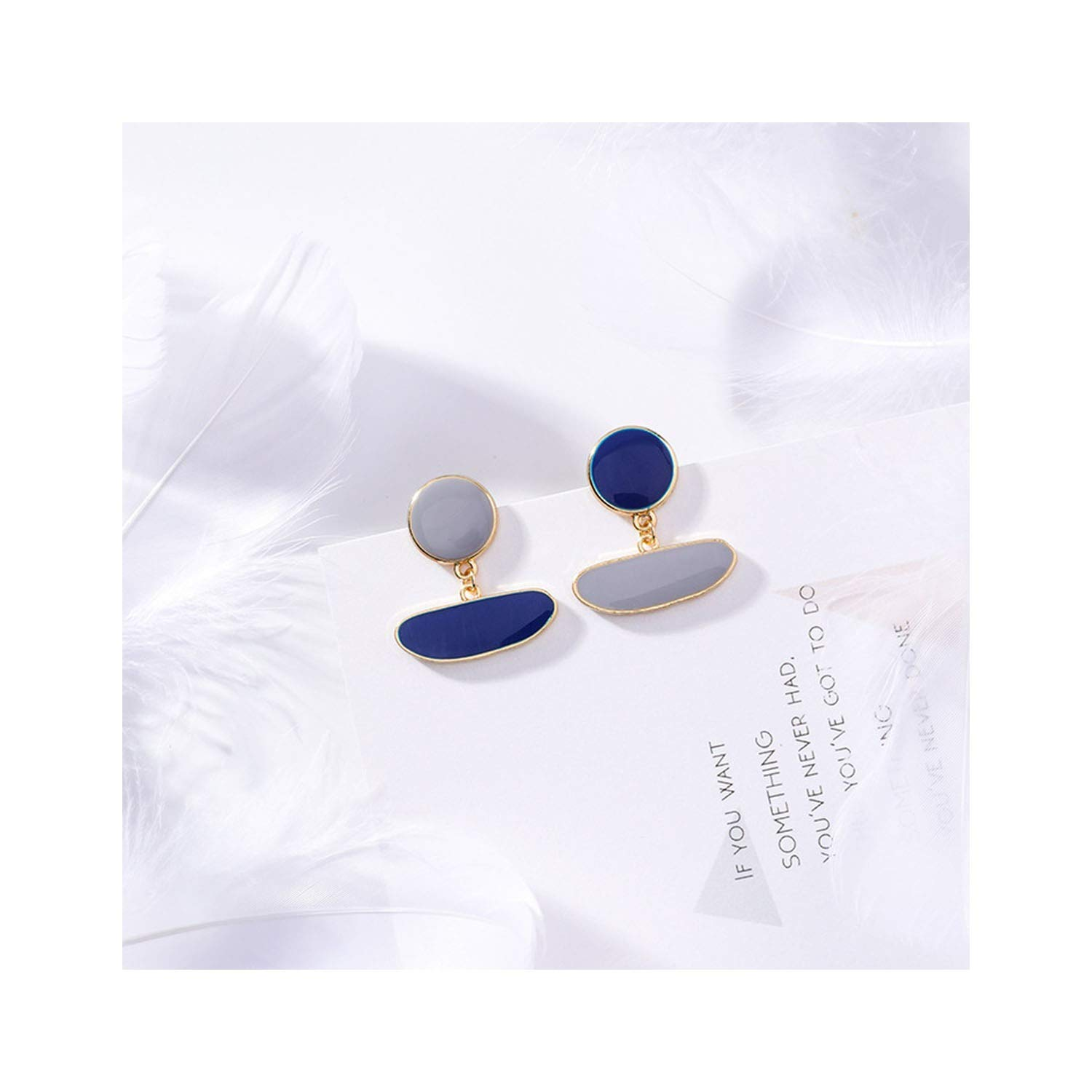 Blue Opal Marble Stone Round Big Stud Earrings Women Fashion Temperament