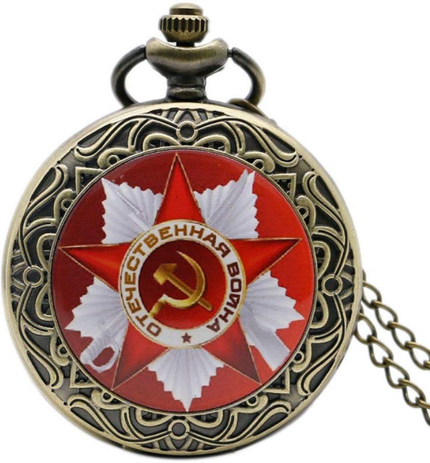 YHWW Reloj de bolsill oRetro URSS Insignias soviéticas Hoz Martillo Estilo Reloj de Bolsillo de CuarzoRusia Emblema Comunismo Unisex Collar Cadena Horas Reloj