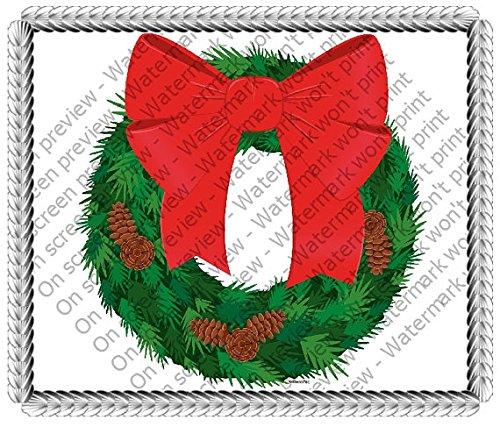 1/2 Sheet - Christmas Wreath- Edible Cake/Cupcake Party Topper!!!