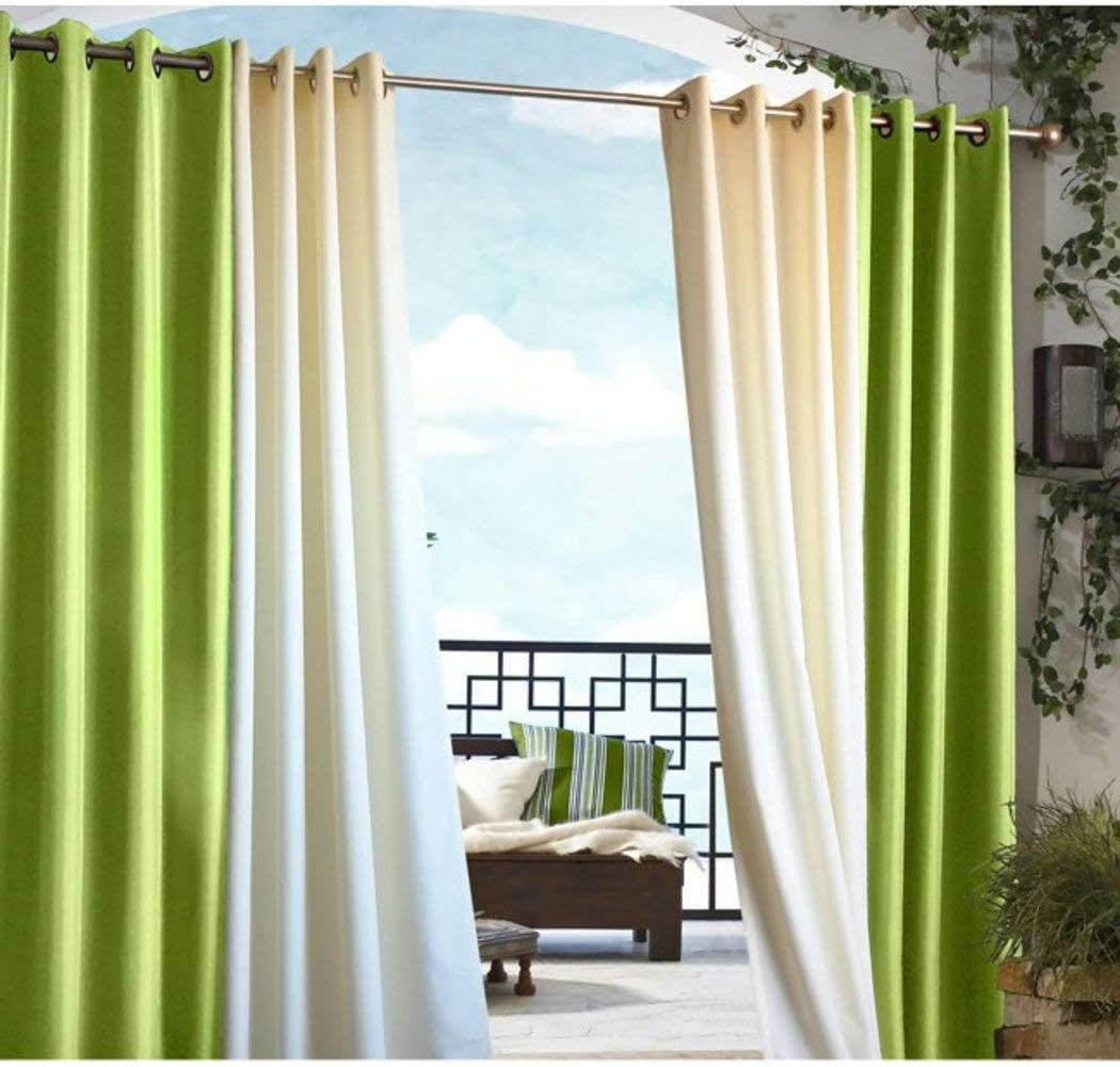 1Pieza 84 – Cenador de exterior verde cortina de poliéster, cabaña, Patio porche Protector de piso puerta de entrada puerta anillo ojal parte superior para pérgola Drapes, Lime Color fuera ventana tratamiento