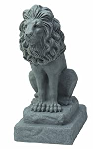 "EMSCO Group Guardian Lion Statue – Natural Granite Appearance – Made of Resin – Lightweight – 28"" Height"