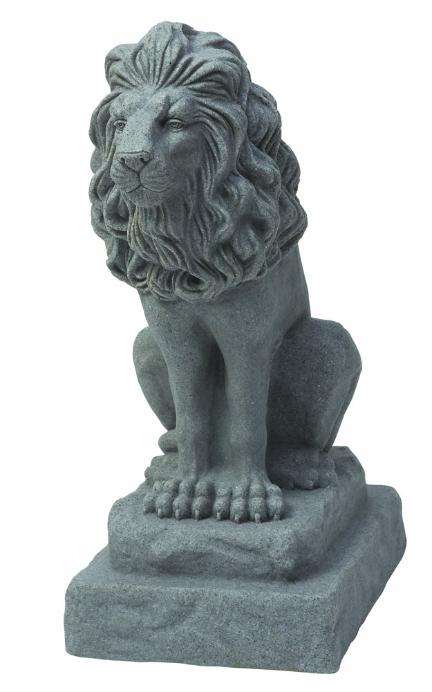 EMSCO Group Guardian Lion Statue - Natural Granite Appearance - Made of Resin - Lightweight - 28'' Height