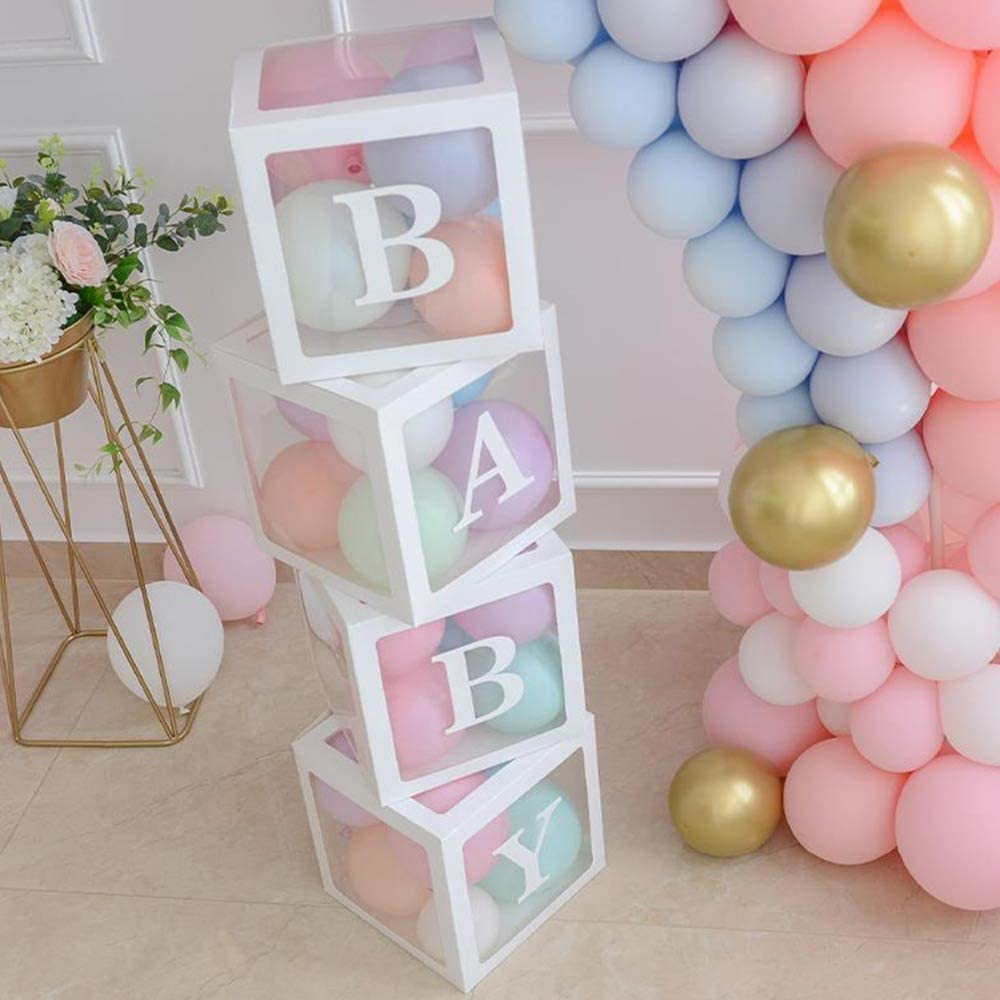 Alitrend Baby Shower Boxes Party Decoration 4 Pieces Transparent Balloon Boxes Baby Block Decoration With Letter For Gender Reveal Party Boys Girls White Spielzeug