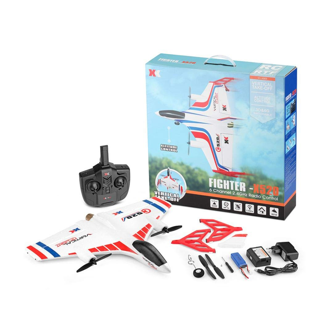 Jeeke RC Airplane Delta Wing RC Glider EPP Composite Material XK X520 2.4G 6CH 3D/6G Mode Popular Halloween (White, 48×48×12cm / 18.9×18.9×4.7in) by Jeeke