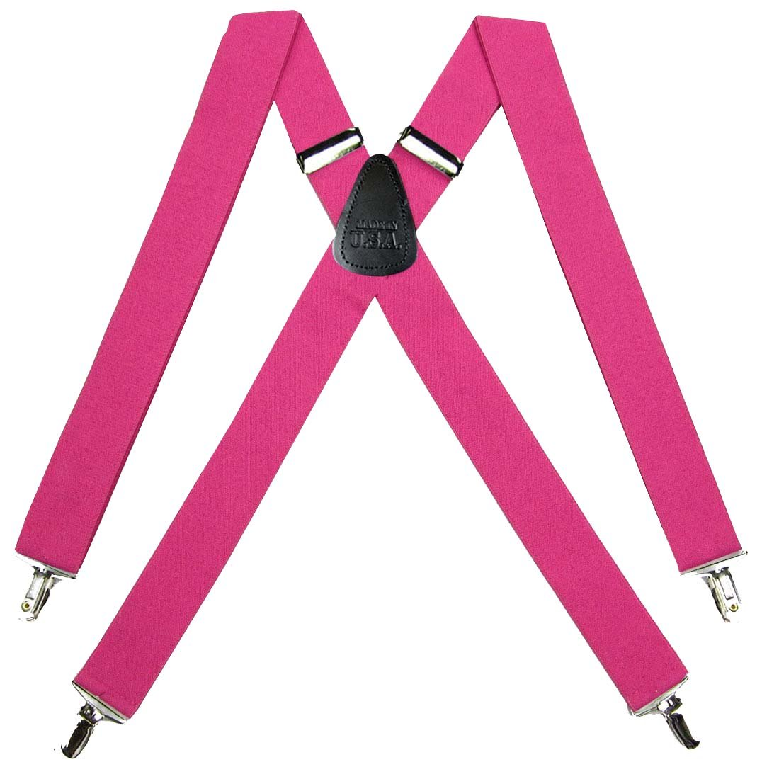 Solid Suspender for Men Made in USA X-Back Genuine Leather Trimmed clip end tuxedo suspenders Many solid colors available