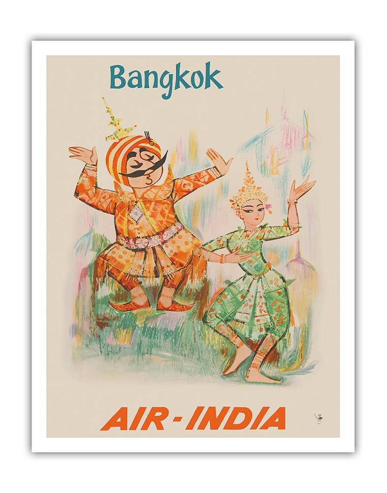 Pacifica Island Art Bangkok, Thailand - Air India - Maharaja with Thai Classical Khon Dancer - Vintage Airline Travel Poster c.1965 - Fine Art Print - 11in x 14in by Pacifica Island Art