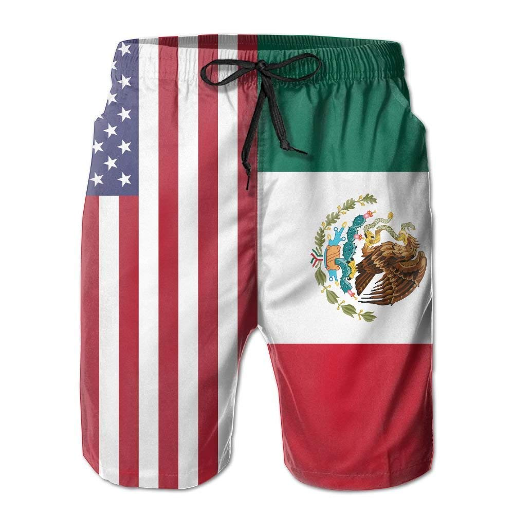 ZGXJJPP American Mexico Flag Mens Swim Trunks Beach Shorts Board Shorts with Pockets