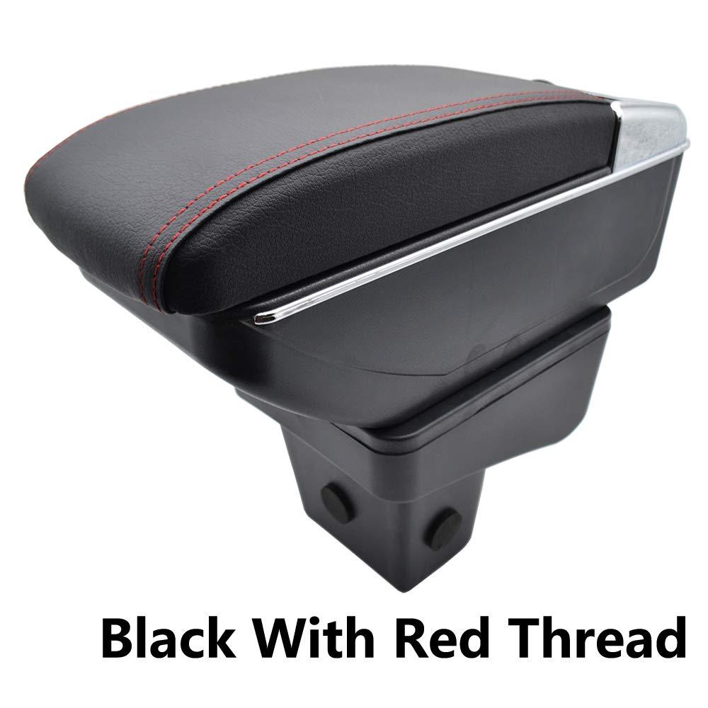 Zweilagige schwarze Leder-Armlehne f/ür Vitara 2015 2016 2017 2018 2019 Mittelkonsole Aufbewahrungsbox Armlehne Black with Red thread