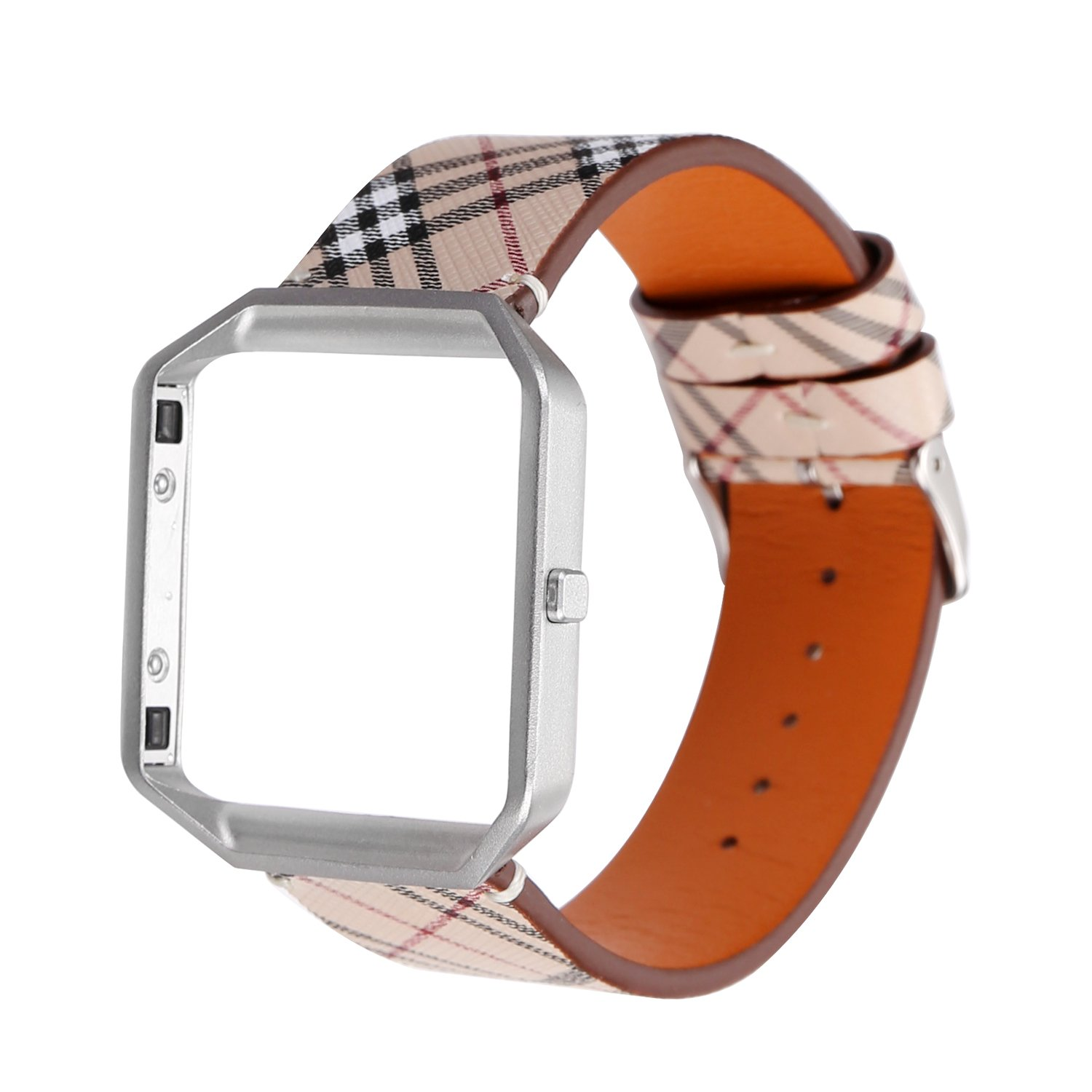 MeShow TCSHOW Soft PU Leather Plaid Tartan Style Replacement Strap Wrist Band Metal Adapter Compatible Fitbit Blaze (A)