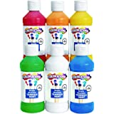 Colorations Simply Washable Tempera Paints, 8 fl oz, Set of 6 Colors, Non Toxic, Vibrant, Bold, Kids Paint, Craft, Hobby, Arts & Crafts, Fun, Art Supplies, Assorted Set