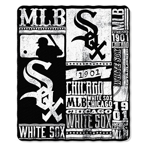 The Northwest Company MLB Chicago White Sox Strength Fleece Throw Blanket 50-inch by 60-inch, Black ()