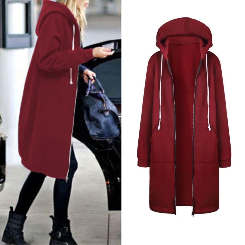 LUNIWEI Women's Fashion Autumn Winter Warm Zipper Open Hoodies Long Coat (Red, L4)