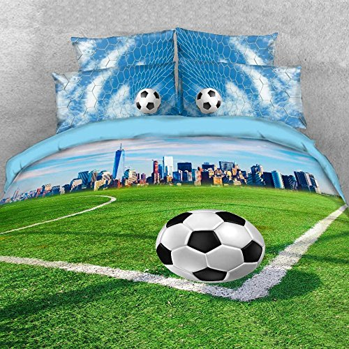 Alicemall Kids Football Bedding 3D Soccer Field and City Scenery Duvet Cover Set 4 Pieces Cotton and Tencel Blended Super Soft Cool Sports Bedding Set, King Size Football Sheets Set (King, Light Blue) by Alicemall (Image #1)