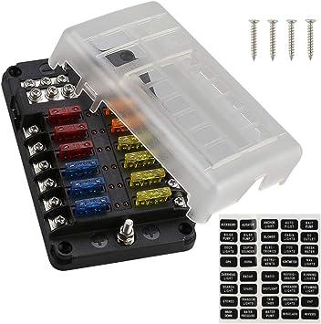 universal automotive fuse box amazon com universal blade fuse block with led warning indicator  amazon com universal blade fuse block